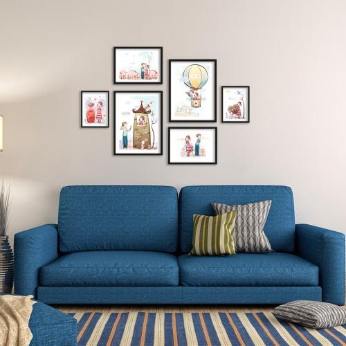 Çocuk Odası Çizimler Çerçeveli Poster Seti