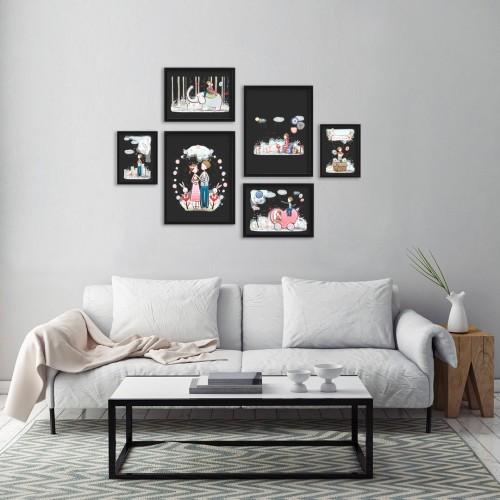 Çocuk Odası Siyah Çizimler Çerçeveli Poster Seti