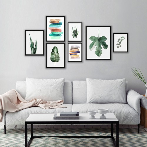 Green Tropik Çerçeveli Poster Seti
