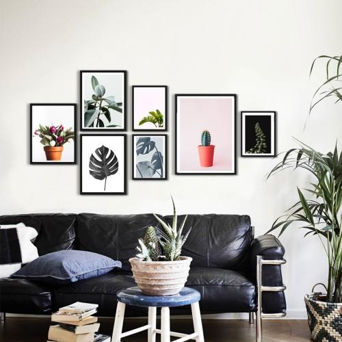 Kaktüs ve Yapraklar Çerçeveli Poster Set