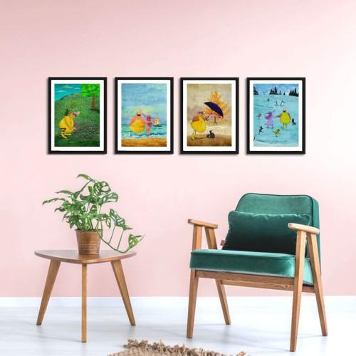 Sarı Reis Dört Mevsim Çerçeveli Poster Seti