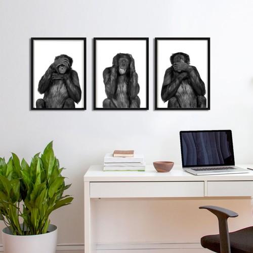Üç Maymun Siyah Beyaz Çerçeveli Poster Seti