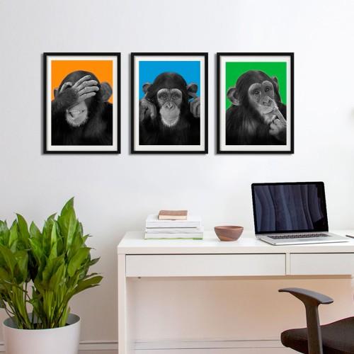 Üç Maymun Renkli Fon Çerçeveli Poster Seti