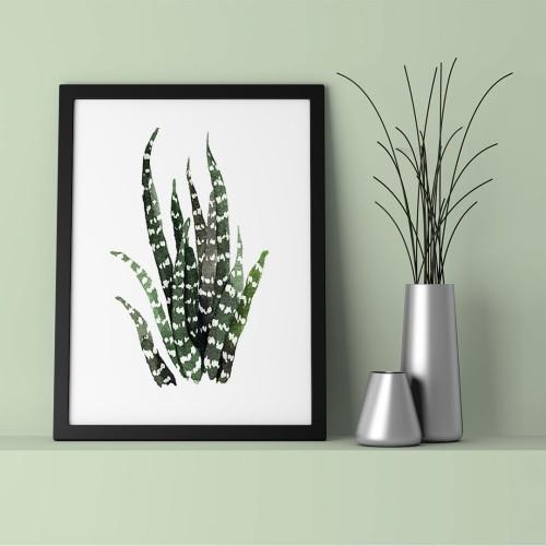 Çizgili Yapraklar Çerçeveli Poster