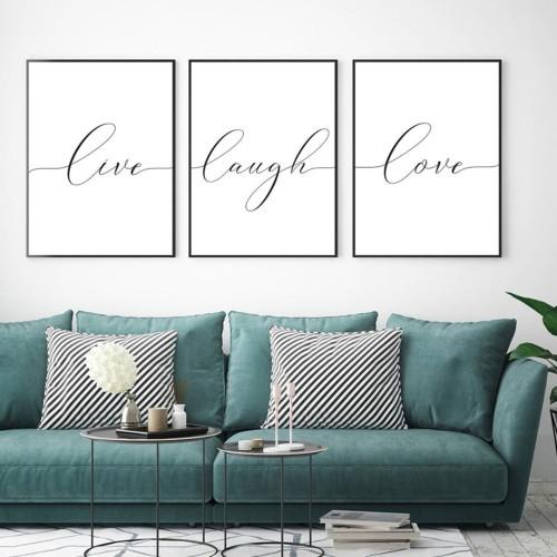 Love Laugh Live Çerçeveli Poster Seti