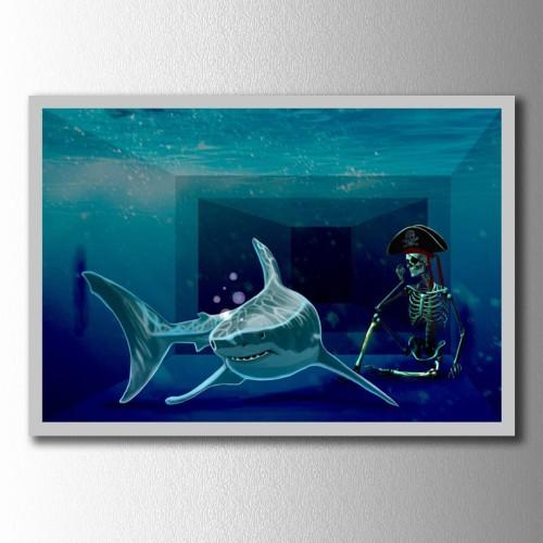 Köpek Balığı ve İskelet Kanvas Tablo