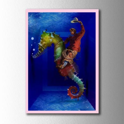 Deniz Atı Mavi Kanvas Tablo