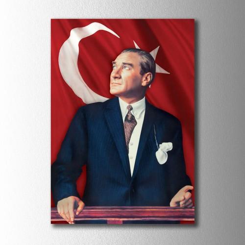 Renklendirilmiş Atatürk Portre Kanvas Tablo