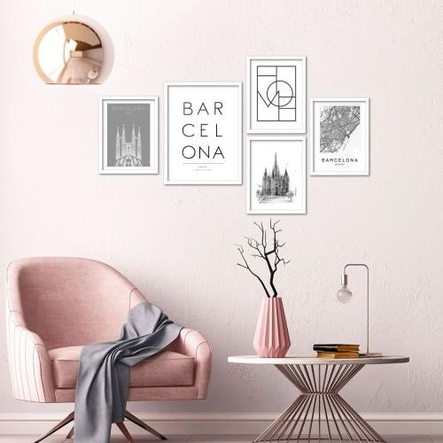 Barcelona Çerçeveli Poster Seti