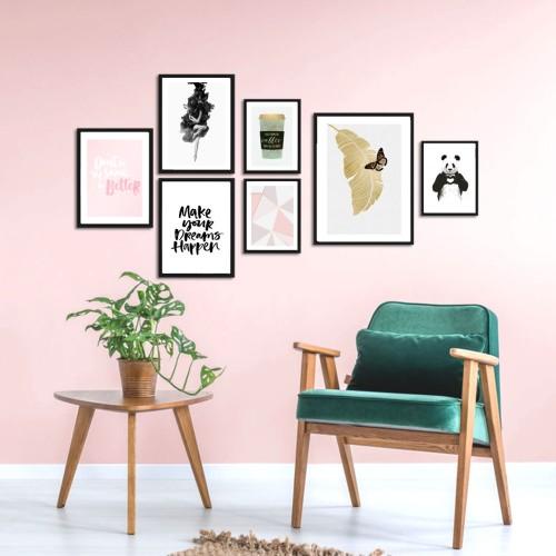 Kelebekli Çerçeveli Poster Seti