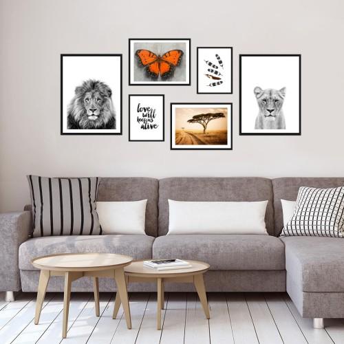 Aslanlar Çerçeveli Poster Seti