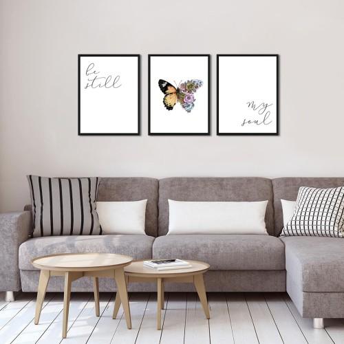 Kelebek Kombin Çerçeveli Poster Seti