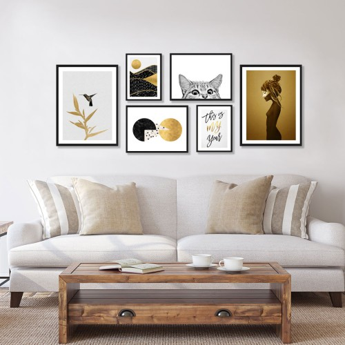 Altın Kadın Çerçeveli Poster Seti
