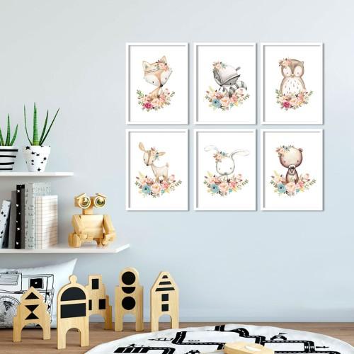 Çiçekli Hayvanlar Çerçeveli Poster Seti