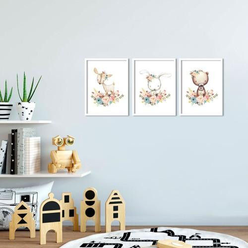 Çiçekli Geyik Ayıcık Çerçeveli Poster Seti