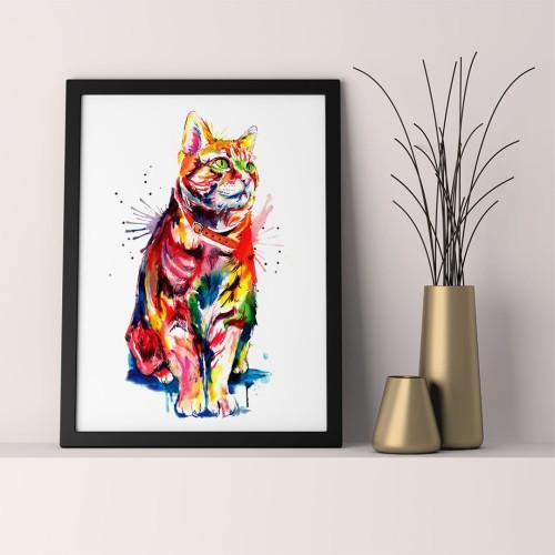 Renkli Kedi Çerçeveli Poster