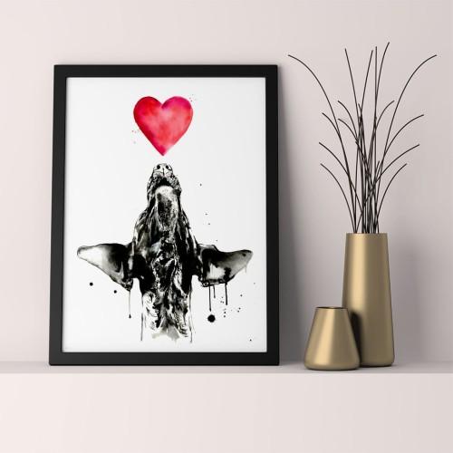 Kalp ve Köpek Çerçeveli Poster