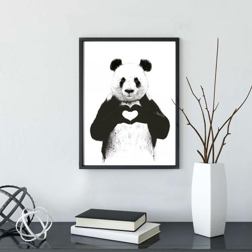 Panda Kalp Çerçeveli Poster