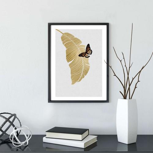 Altın Kelebek Çerçeveli Poster