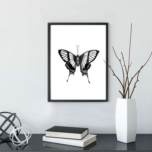 Siluet Kelebek Çerçeveli Poster