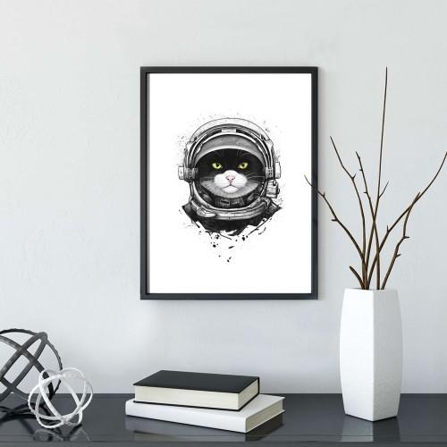 Astronot Kedi Çerçeveli Poster