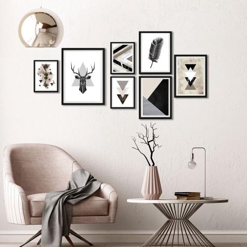 Geometrik Kahve Çerçeveli Poster Seti