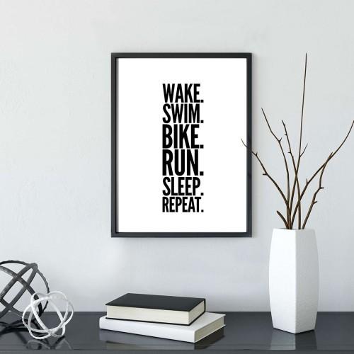 Wake Repat Çerçeveli Poster