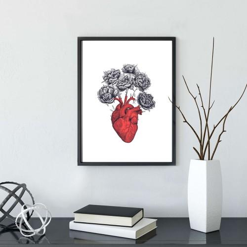 Çiçek Açan Kalp Çerçeveli Poster