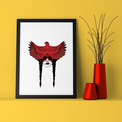 Kırmızı Kuş Çerçeveli Poster