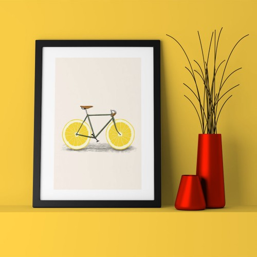 Portokallı Bisiklet Çerçeveli Poster