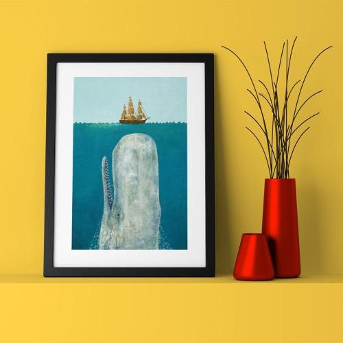 Balina Çizim Çerçeveli Poster