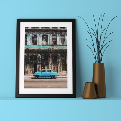 Mavi Araba Çerçeveli Poster