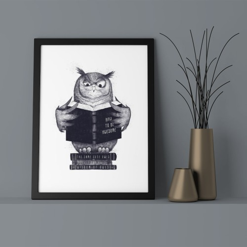 Kitap Okuyan Baykuş Çerçeveli Poster