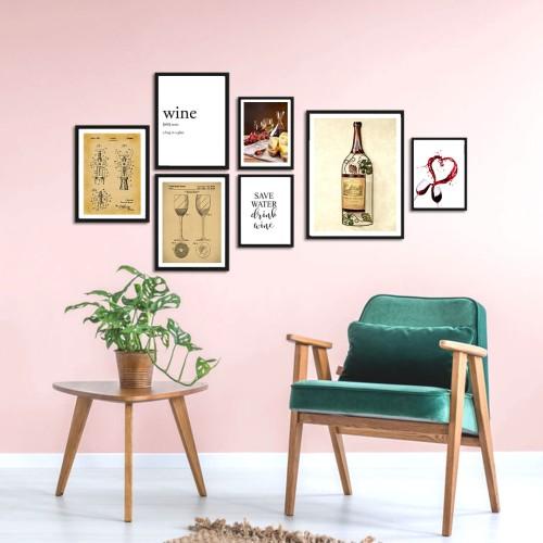 Wine Çerçeveli Poster Seti