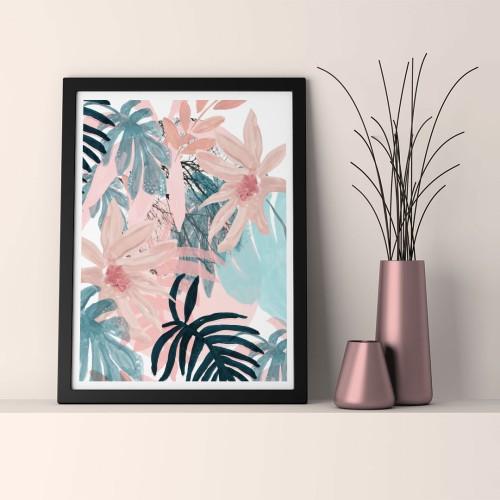 Pudra Çiçekler Çerçeveli Poster
