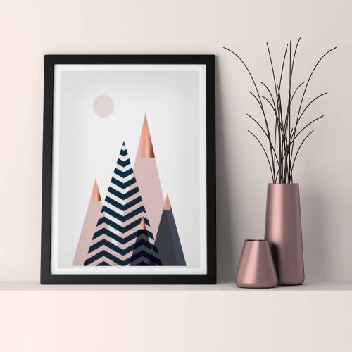 İskandinav Pudra Üçgenler Çerçeveli Poster