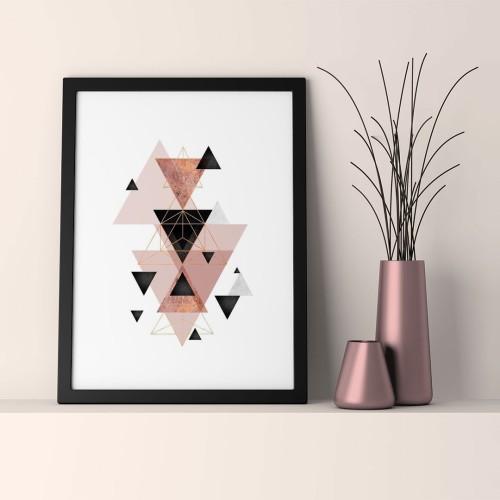 Pudra Üçgenler Çerçeveli Poster