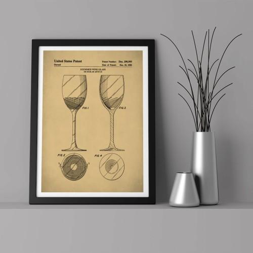 Patent Şarap Kadehi Çerçeveli Poster