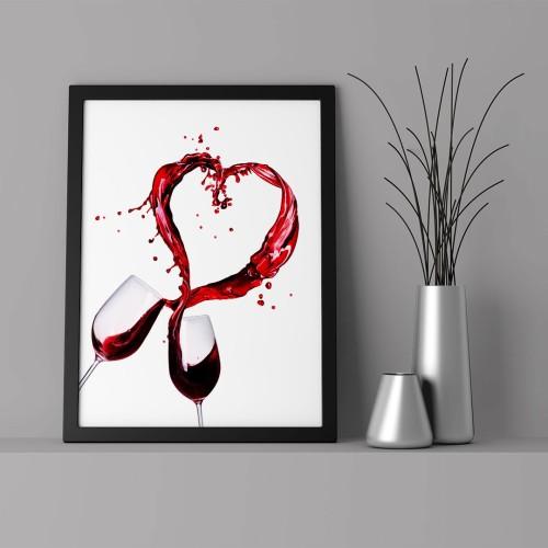 Kalp ve Kadeh Çerçeveli Poster