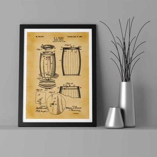 Patent Şarap Fıçısı Çerçeveli Poster