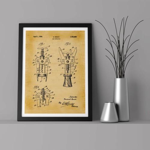 Patent Şarap Şişe Açacağı Çerçeveli Poster
