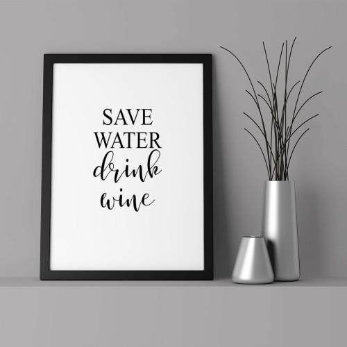 Save Water Çerçeveli Poster