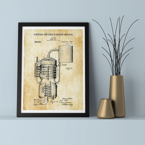 Patent Whisky Fill Çerçeveli Poster