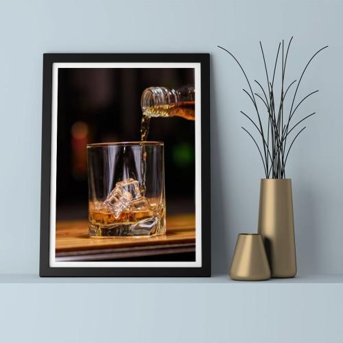 Viski Bardağı Çerçeveli Poster