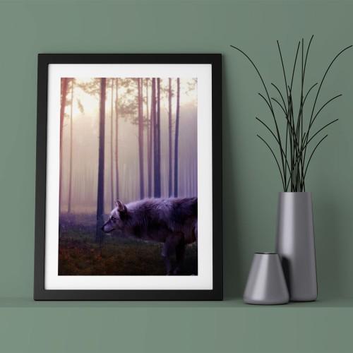 Gün Batımı Orman ve Kurt Çerçeveli Poster