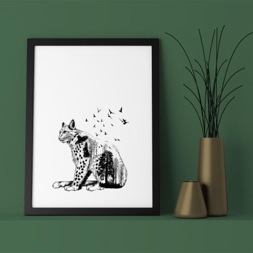 Vahşi Kedi Siyah Beyaz Çerçeveli Poster