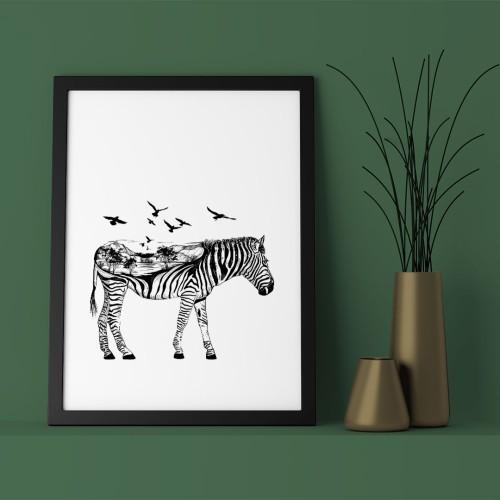 İllistrasyon Zebra ve Kuşlar Çerçeveli Poster