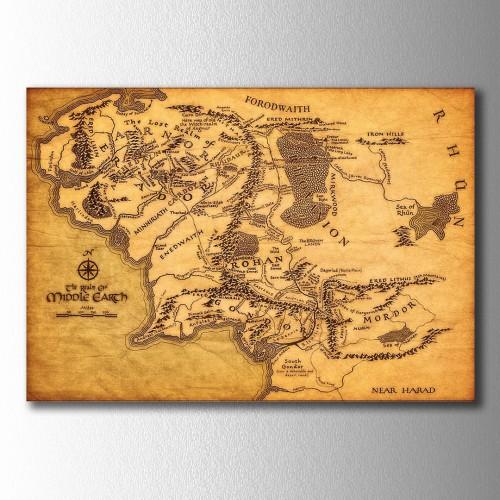 Sarı Orta Dünya Harita Kanvas Tablo