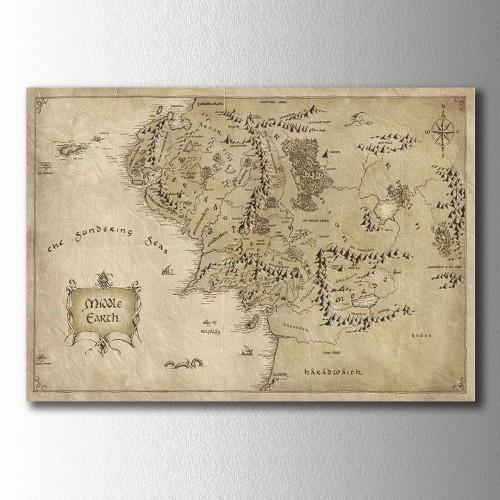 Kahve Orta Dünya Harita Kanvas Tablo
