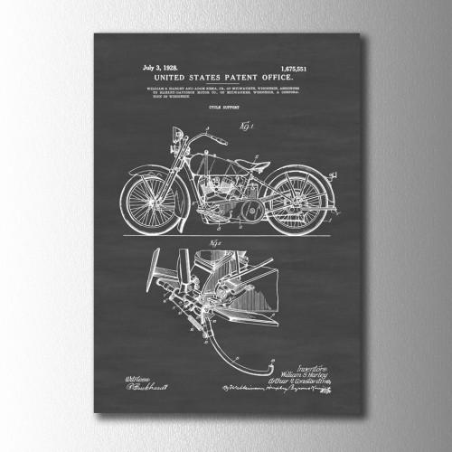 Harley Davidson Patent Kanvas Tablo